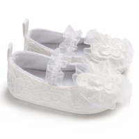Wholesale baby white mary jane shoes for sale - Newborn Princess White Lace Mary Jane Baby Girl Shoes Big Flower Print First Walker Soft Sole No slip Prewalker Infant Crib Shoe