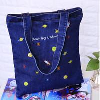 Wholesale Embroidery Dress Shop - HLDAFA 2017 Casual Top-Handle Bags New Embroidery Cowboy Canvas Women Shoulder Bag Handbags Denim Fashion Handbag Shopping Bags