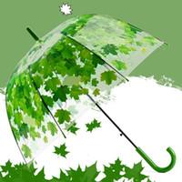 ingrosso ombrelloni in pvc pioggia-Ombrello da donna Fresh PVC Transparent Fungo Green Leaves Arch Umbrella Child Long Umbrella / Rain Umbrella