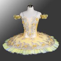 trajes de dança amarela meninas venda por atacado-Adulto Ouro Flor Amarela Fada Clássica Ballet tutu Mulher Profissional Meninas Trajes de Palco Canário Fada Tutu Amarelo Ballet Dance Performan