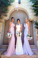 lila brautjungfer stil kleid großhandel-3 Stile Ausschnitt Mermaid Long Brautjungfernkleider 2018 New Lilac One Shoulder Günstige Elegante Hochzeit Gast tragen Vintage Arabisch Kleider