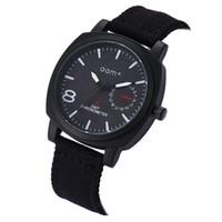 relógios de pulso preto genebra venda por atacado-Genebra Digital Black Alloy Matte Dial Branco Lona Cinta de Nylon Esporte dos homens de Quartzo Militar Assista Relógio de Pulso Dos Homens C240