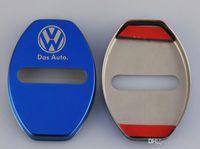 volkswagen kapısı toptan satış-Araba kapı kilidi kapağı logo amblemler Volkswagen polo passat b5 b6 b7 golf 4 5 7 t5 tiguan Araba Aksesuarları