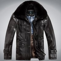 Wholesale mens winter snow coats - Wholesale-Faux Leather Coats Mens Winter Jackets Snow Coat Warm Biker Motorcycle Jackets Outwear Overcoat Natural Fur Collar Plus Size 4XL