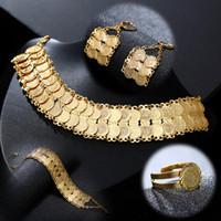 ingrosso accessori a medio oriente-Moda squisita Medio Oriente araba sposa musulmana moneta collana orecchino anello braccialetto set accessori per gioielli da sposa colore oro