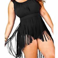 trajes de baño de flecos para las mujeres al por mayor-Recién llegado de una pieza traje de baño fringe Bodysuits L-3XL traje de baño más tamaño Sexy Push Up trajes de baño para mujer negro blanco