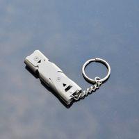 ferramenta de salvamento ao ar livre venda por atacado-Novo 150DB Aço Inoxidável Apito Lifesaving Emergência SOS Ferramenta de Sobrevivência Ao Ar Livre 2 cores Dupla tubulação de equipamentos de segurança