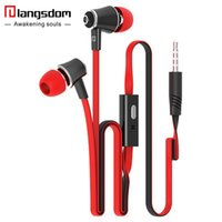 Wholesale colorful earbuds microphone online – Original Langsdom JM21 In ear Earphone With Micphone Colorful Headset Hifi Earbuds Bass Earphones for Phone with Retail Package