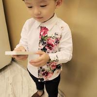 blusas de algodão de verão venda por atacado-Bebé roupa Meninos blusa branca Top manga longa de algodão camisa elegante impressa Criança de flor As crianças Verão Outono Casual