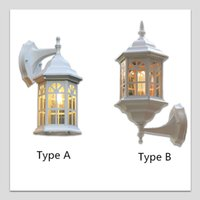Wholesale Glass Wall Light Shades - Outdoor Indoor LED Wall Lights Retro Style Aluminum Frame Glass Shade Lamps For Garden Wall Corridor Hall Hotel Balcony Lighting