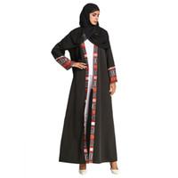 siyah abayalar toptan satış-Kontrast Renk Hırka Siyah Şifon Uzun Coat Elbise Hindistan Pakistan Müslüman, Orta Doğu Arapça Elbise Abayas Arapça Elbiseler Balo