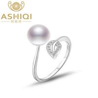 anillo de perlas de agua dulce esterlina al por mayor-ASHIQI Natural pearl 925 Anillos de plata esterlina Hoja joyería 8-9mm Real perla de agua dulce blanco rosado púrpura Abrir anillo de dedo