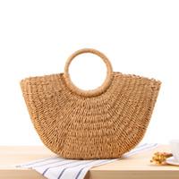 Wholesale Handmade Bags Summer Fashion - Fashion Bag 2018 Bohemian Beach Straw Knitted Bags Women Summer Handmade Rattan Woven Handbags Lady Casual Travel Shopping Tote Bag Handbag