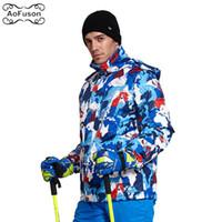 d2f7622d5eddf Erkekler Kayak Giyim Ceket Kış Kar Rüzgar Geçirmez Su Geçirmez Profesyonel  Kayak Giyim Graffiti Snowboard Kalınlaşmak Sıcak Ceket Erkek Ceket 2019