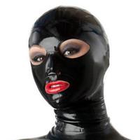 beaux masques achat en gros de-100% Pur Latex Capot pour Catsuit Belle Fille Solide Couleur En Caoutchouc Fétiche Masque Cosplay Partie Porter Costumes À La Main