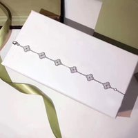 ingrosso braccialetto del braccialetto del trifoglio del fiore-Pure 925 gioielli in argento sterling per le donne Gioielli di nozze Four Leaf Bracciale trifogli piccolo Clover Bracciale 6 fiore braccialetto 10MM