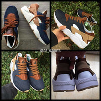 ingrosso scarpe huarache dell'aria-2017 chaussures nike air Huarache ID Custom Breathe Running Shoes For Men Donna Denim blu navy abbronzato Air Huaraches Multicolor Sneakers Hurache Sport