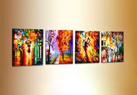 paisaje cuchillo pinturas lienzo al por mayor-Pinturas de paneles pintura de cuchillo moderno paisaje 4 paneles arte de la pared pinturas al óleo brillantes lienzo arte de la pared decoración del hogar Kungfu Art