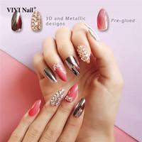 ingrosso decorazioni di unghie false 3d-Silver Metallic Stiletto Unghie finte Stampa su Full Cover Stampa 3D su punte di unghie finte rosa Decorazione Nail art UV con rivestimento UV