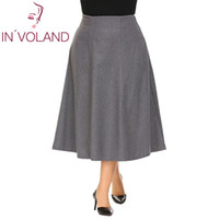 плюс длинные зимние юбки оптовых-IN'VOLAND Big Size XL-5XL Women Warm Skirt High Waist A-line Flared Large Long Winter Fall Midi Faldas Saia Lady Jupe Plus Size