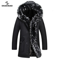 Wholesale Luxury Down Jacket Fur - Wholesale-2017 winter new luxury high quality fur plus velvet thickening warm men's casual hooded down jacket large size parka coat 8896