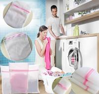 Wholesale Zip Socks - 30*40CM Laundry Mesh Net Washing Bag Clothes bra sox Lingerie Socks Lingerie Zipped Laundry Bags 4styles I207
