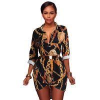 blusas de playa al por mayor-Verano de manga larga mini vestido de la vendimia de las mujeres clásicas retro blusa fiesta en la playa vestidos casuales negro S-XL