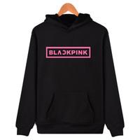 pink clothing al por mayor-Corea KPOP Girl Group Blackpink Sudaderas con capucha Mujer Negro Pink Hooded Sudadera Camisas Feminina KPOP Blackpink Clothes