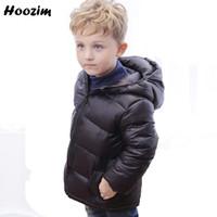 abrigos para niños negro blanco al por mayor-Winter White Duck Down Jacket para niños 7 8 años Fashion Black Hooded Coat Niños Autumn Kids Clothing Pretty Jacket para niñas