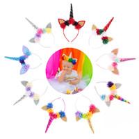Wholesale babies pink hair resale online - Baby Unicorn horns Chiffon Flowers Hair hoop Hair clasp Christmas Birthday Party Headwear Cute colors
