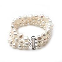 ingrosso braccialetto di perle d'acqua dolce nera-Bracciale in vera perla d'acqua dolce a 3 file per donne, regalo di compleanno per ragazze trendy bracciale nero 925 gioielli in argento