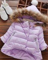 с капюшоном зимние мальчики шерсть оптовых-горячие дети snowsuit зима новорожденных девочек зимнее пальто младенческой детская одежда меховой воротник с капюшоном толстая куртка девочка мальчик одежда