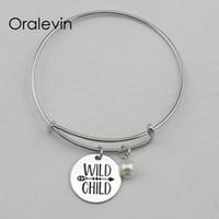 cd35634e4 children bracelets diy Canada - WILD CHILD Inspirational Hand Stamped  Engraved Charm Pendant Expandable Wire Bracelet