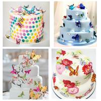 patrones de fondant gratis al por mayor-Nuevos comestibles Cupcake Toppers 10pcs un conjunto Pastel de bodas Pastel de cumpleaños Decoración de alimentos multicolor