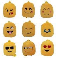 Wholesale trendy yellow handbags - Fashion 10 styles emoji plush bag trendy cute emoji backpack child shoulder school bag satchel rucksack handbag