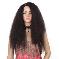 peruk sentetik kanekalon toptan satış-24 Inç Sentetik Dantel Ön Peruk Kinky Düz Tip Kanekalon Isıya Dayanıklı Saç Siyah Kadınlar Ücretsiz Nakliye Için
