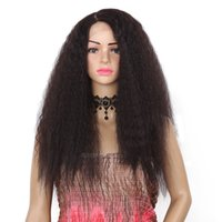 Wholesale 24 hair heat resistant for sale - Group buy 24 Inch Synthetic Lace Front Wigs Kinky Straight Type Kanekalon Heat Resistant Hair For Black Women