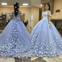 Wholesale 3d art sweet online - 2019 Dusty Blue Sweet Quinceanera Dresses Ball Gown Off Shoulder D Floral Vestido Anos Masquerade Birthday Prom Party Gowns