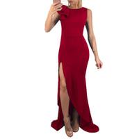 Sexy Frauen Solide Maxi Langes Kleid O Neck Sleeveless Rüschen High Split  Nachtclub Partykleid Blau   Grün   Rot Sommerkleid Vestidos 58edec7e10