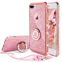 Pleine protection Diamant Strass Case Pour iphone 6 6 S 7 7 plus 8 8 Plus Case Ring Strap Couverture Cas pour iphone X