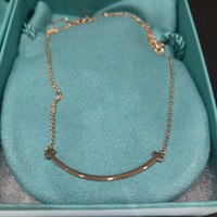 Wholesale Ladies Simple Necklace - Europe and the United States popular smile necklace 18K rose gold gold speaker large ladies fashion simple wild models