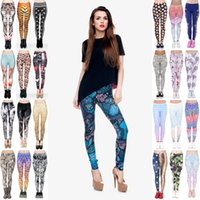 Wholesale food prints - Women Leggings 480 Styles Mix Unicorn Lucky Leaf Mandala Mint Aztec Emoji Workout Camo Camouflage Fruit Food Animal 3D Print Pants (JL033)
