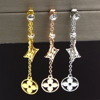 ingrosso doppio orecchini quadrati-Orecchini a forma di fiore Orecchini a corona in oro placcato in oro titanio con diamanti quadrati singoli