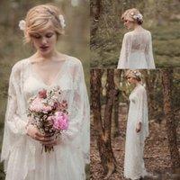 ingrosso boschi di campagna-Fata pizzo Into Woods abiti da sposa d'epoca con 2.018 scollo a V a maniche lunghe di tutta la lunghezza Paese Boho l'abito nuziale Rue de Seine