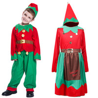 Wholesale elf baby clothes for sale - Group buy Baby Xmas outfits boys girls Christmas elf with headband sets Autumn Boutique kids cosplay Clothing Sets C5393
