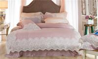 seidenspitze kissenbezug großhandel-Rosa Luxus Romantic White Lace Rand 100 S Tencel Silk Princess Bettwäsche-Set Bettbezug Bettlaken Bettwäsche Kissenbezüge 4 / 7pcs