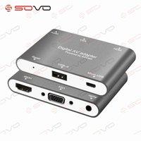 av numérique hdmi achat en gros de-SOVO 3 en 1 Micro USB vers HDMI VGA + Convertisseur Audio Vidéo Adaptateur AV numérique pour iPhone 6S Plus Samsung iOS Android Windows