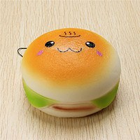 Wholesale cute cell phone charms for sale - Group buy 10cm Cute Jumbo Soft Squishy Smile Hamburger Charms Slow Rising Kawii Kids Toy Emoji Phone Straps For Cell Phone Decoration