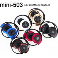 Wholesale mini ear radio - Newest Mini 503 Sport Bluetooth Wireless Headphones Music Stereo Earphones+Micro SD Card Slot+FM Radio With Retail Package