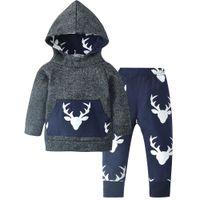 abrigo de bebé de venado al por mayor-2018 otoño bebé Ropa de los niños de algodón de manga larga Deer hoodie coat + pants niños 2 unids traje bebé ropa del bebé establece ropa infantil